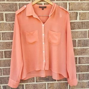 Sanctuary Coral Pink Long Sleeve Sheer Button Up